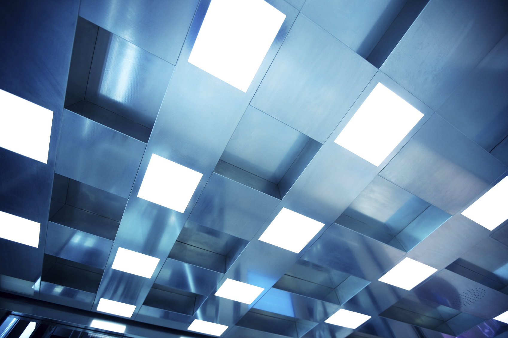 Full frame of a ceiling with fluorescent light at Dubai airport